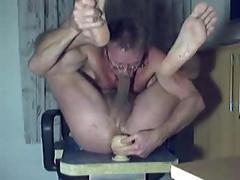 German guy toys his ass and munching his fat dick