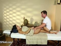 hot glam chick is loving her own massage