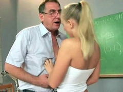 Beautiful student seducing her old teacher