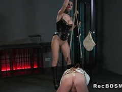 Slave in straitjacket gets handjob fetish wanking