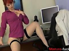 redhead is stripping and wanking on her tender spot