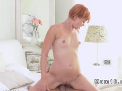 Young dude fucks redhead Milf and gives creampie