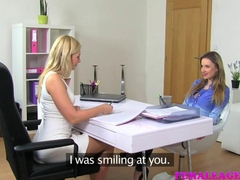 FemaleAgent Beautiful bisexual blonde seduces horny agent