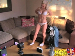 FakeAgentUK Ultra sexy blonde czech fingered fucked and cum splattered