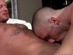 Vicious gay stud gets cock spoiled