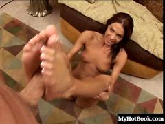 Sweet little babe gets cum in her mouth after a footjob