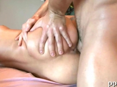 Sexy bombshell gets hot massage