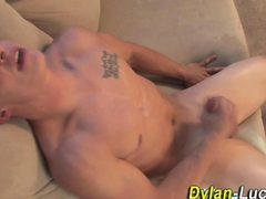 Muscle surfer jerks cock