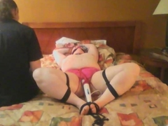 Fat bound beauty gets her pussy vibrated
