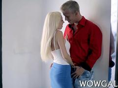 Skinny blonde babe with massive boobs gets licked