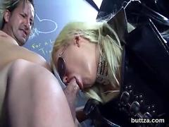 Leather bound domina asks for a deep face fucking from her sub
