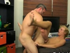 Amazing gay scene Beefy Brock Landon might be straight but when youthfull blondie twink