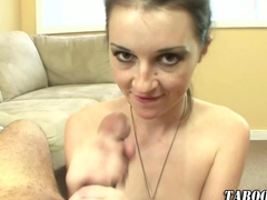 Stepdaughter jerks cock