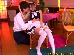 Japanese cosplay beauty gets her clit rubbed