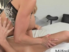 Two horny women fucked on massage table with nasty dude