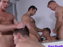 Muscular gay orgy with cockhungry dudes