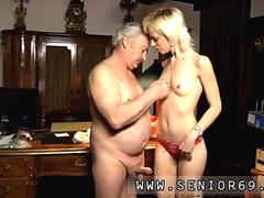 Blonde glam girl sucks a rich old dudes dick lustfully
