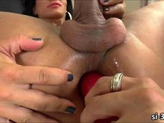 Luscious TS Nathany Gomes dildo screwed