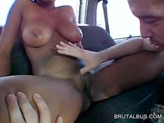 Voluptuous ebony fucked to orgasm in the bus
