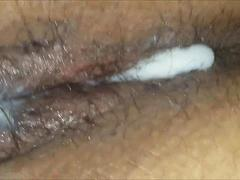 Creamy pussy fucked by a dildo - closeup