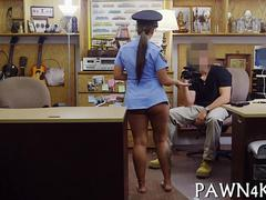 Police babe sucks off a big pawn shop cock and fucks