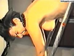 My slave bound on stepladder and hard caned