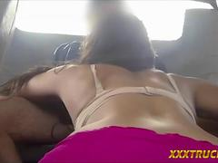 Pretty slut gives blowjob and banged by tow truck driver