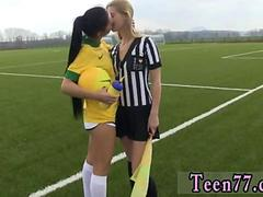 Slim sexy soccer teens get intimate in an empty locker room