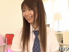 Asian schoolgirl is giggling knowing a dicking is coming