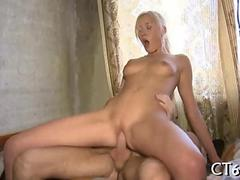 Amateur blonde from Russian rammed with a ding dong doggy style