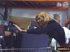 Blondie milf pounded by horny pawn dude at the pawnshop
