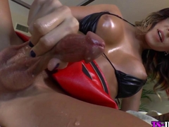Tgirl cums twice from tug
