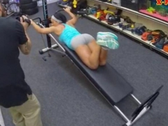 Ebony gym instructor fucked by pawn man