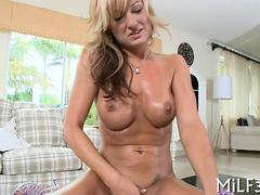 Blonde porn star gets drilled hardcore after a hot blowjob