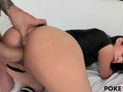 Brunette porn star gets her dark Latin pussy smashed doggystyle