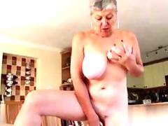 Big tits old whore toying her cunt in high heels