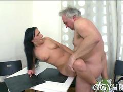 Slutty raven darling climbs an old mans hairy cock to fuck