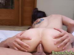 Teen babe sliding down a fat cock getting her ass obliterated