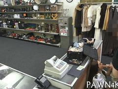 Stewardess stops by a pawn shop to fuck for cash