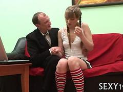 Amateur schoolgirl sucks off her teachers hard cock and fucks
