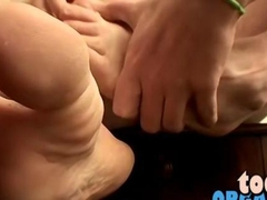 Straight boy sweet and sexy feet get splashed with hot cum