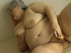 OmaPass Granny with big boobs masturbate with big dildo