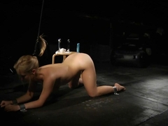 Blonde slave experiences pain and pleasure with the fuck machine