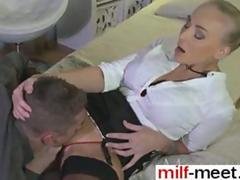 Big tits blonde gets her pussy smashed in a big bed