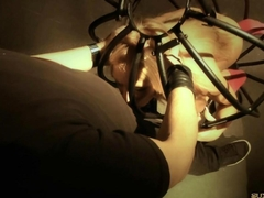 Slave girl caged and humiliated in bdsm for a kinky blowjob