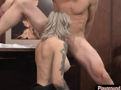 Tattooed whore anal fucked by hard man meat on the desk