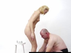 Blowjob for amateur dude from blonde hooker