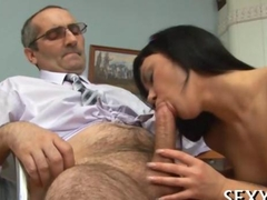kissing the old man and she wants his dick
