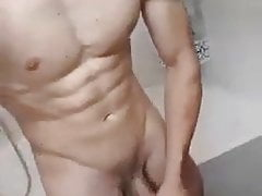 Horny twink jerk off in bathroom