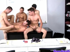 Gay orgy climaxing over one lucky little jock